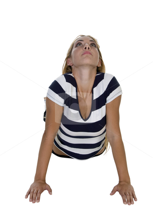 Exercising pretty female stock photo, Exercising pretty female isolated with white background by Imagery Majestic