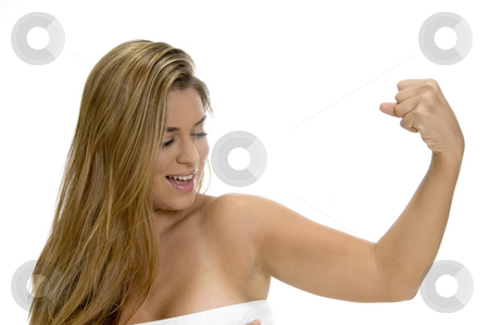 Posing strong blonde lady stock photo, Posing strong blonde lady with white background by Imagery Majestic