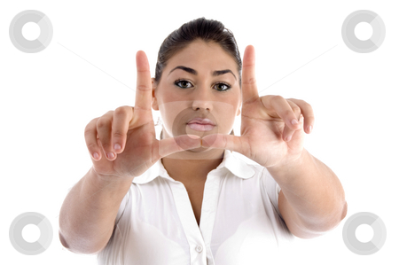 Female showing directing gesture stock photo, Female showing directing gesture with white background by Imagery Majestic