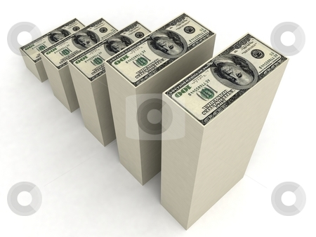 Currency in bar formation stock photo, Three dimensional bar formation of currency by Imagery Majestic
