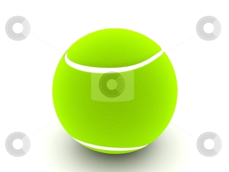 Three dimensional tennis ball stock photo, Three dimensional view of tennis ball by Imagery Majestic