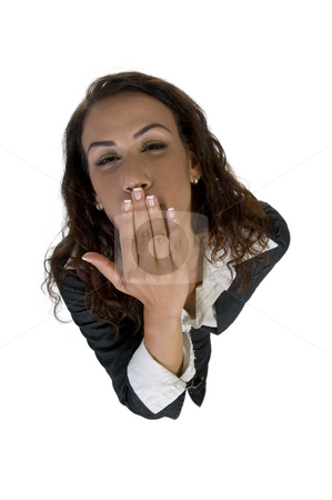 Lady flying kiss stock photo, Lady flying kiss upward on an isolated background by Imagery Majestic