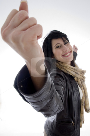 Happy successful woman stock photo, Happy successful woman on an isolated white background by Imagery Majestic