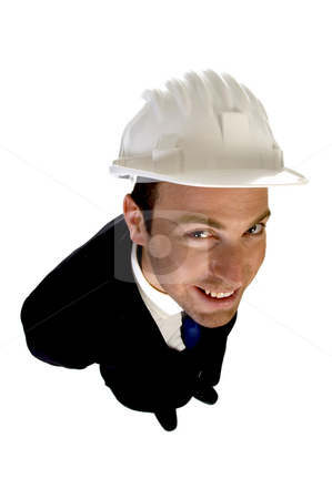 Smart architect with white helmet stock photo, Smart architect with white helmet on an isolated background by Imagery Majestic