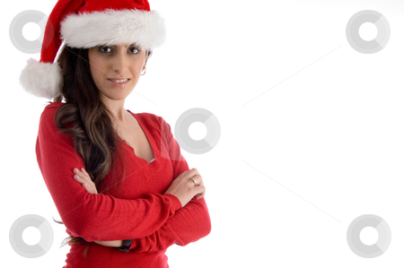 Smiling woman with folded hands stock photo, Smiling woman with folded hands against white background by Imagery Majestic