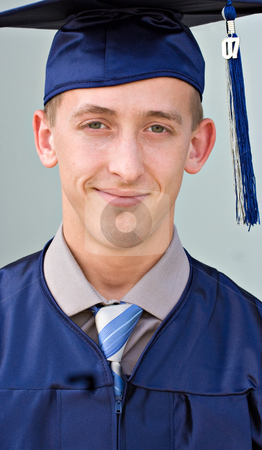 High School Graduate stock photo, Portrait of a male high school graduate by Stephen Bonk