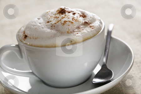 Cappuchino stock photo, Close up of creamy cappuchino with cinnamon sprinkled on top by Liv Friis-Larsen