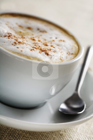 Cappuccino closeup stock photo, Closeup of frothy cappuccino ,shallow dof by Liv Friis-Larsen