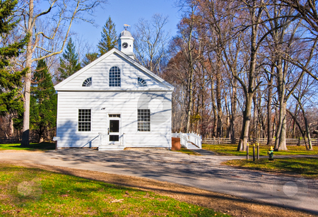Early 19th Century Church stock photo, An old, restored church in Allaire Village, New Jersey. Allaire village was a bog iron industry town in New Jersey during the early 19th century. by Stephen Bonk