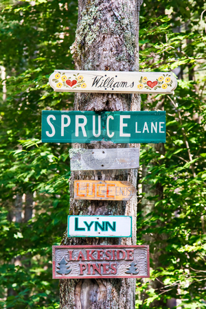 Street Signs stock photo, Street signs and family home signs nailed to a tree on a country road by Stephen Bonk