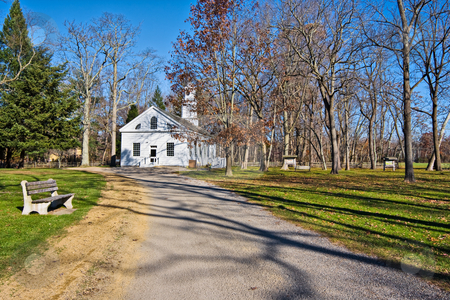 Old Chapel stock photo, An old, restored chapel in Allaire Village, New Jersey. Allaire village was a bog iron industry town in New Jersey during the early 19th century. The chapel also served as a school. by Stephen Bonk