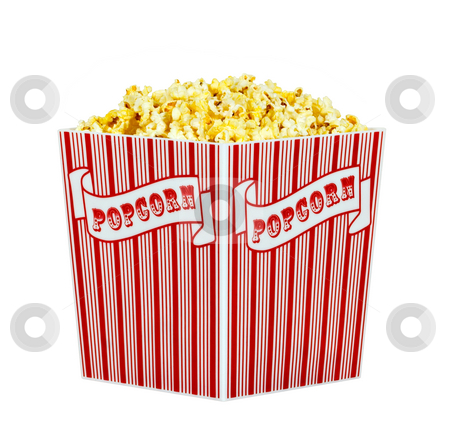 Popcorn stock photo, A container of popped popcorn isolated on a white background by Stephen Bonk