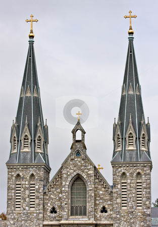 Historic Church stock photo, An old brick church with large steeples by Stephen Bonk