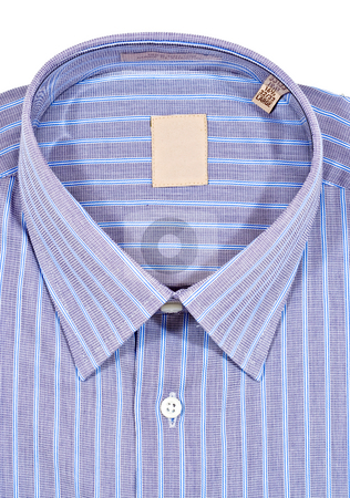 Dress Shirt stock photo, A folded pinstriped dress shirt by Stephen Bonk