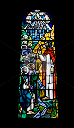 Religious Stained Glass Window stock photo, A religious stained glass window inside a church. The church is The Cathedral of Our Lady Assumed into Heaven and St Nicholas in Galway City, Ireland. by Stephen Bonk
