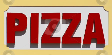 Pizza Sign stock photo, Restaurant sign advertising pizza. This was a large sign associated with a restaurant on a boardwalk. by Stephen Bonk