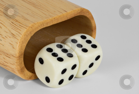 Shaker and Dice: 66 stock photo, Shaker and dice showing 66 by Stephen Bonk