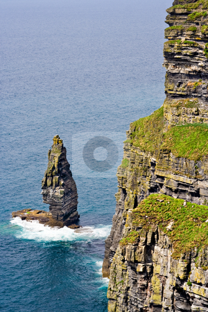 The Cliffs of Moher stock photo, The Cliffs of Moher in County Clare, Ireland. This is on the Atlantic Ocean coastline. by Stephen Bonk