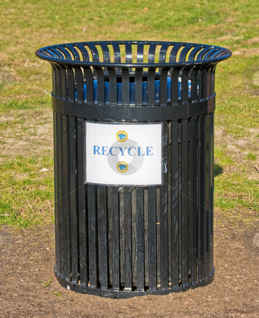 Recycle Garbage Can stock photo, An outside garbage can with a recycle sign by Stephen Bonk