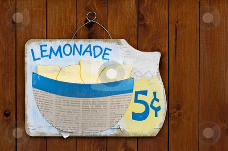 Lemonade Sign stock photo, Wooden lemonade sign on wood fence by Stephen Bonk