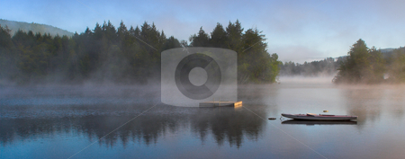 Morning Fog on a Lake (Panorama) stock photo, A lake in the early morning with rising fog. Panorama format. by Stephen Bonk