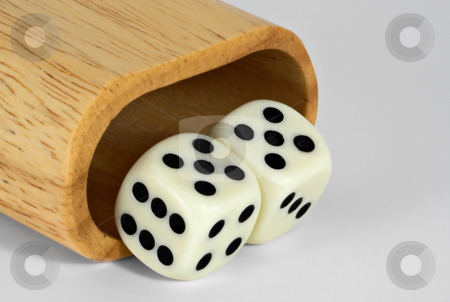 Shaker and Dice: 55 stock photo, Shaker and dice showing 55 by Stephen Bonk