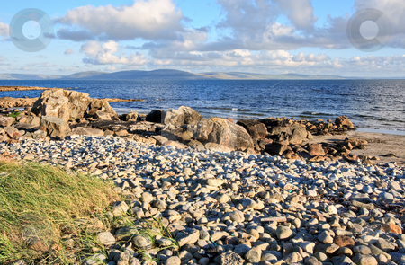 Galway Bay and The Burren stock photo, Galway Bay in Ireland with The Burren across the bay. by Stephen Bonk