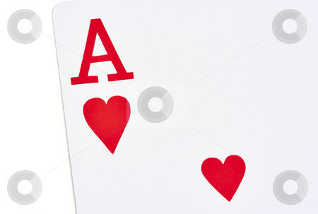 Ace of Hearts stock photo, Ace of hearts playing card on a white background by Stephen Bonk