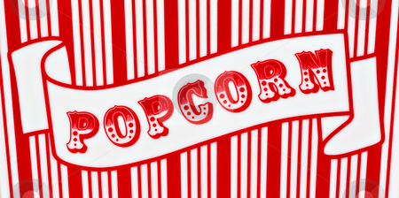 Popcorn Sign stock photo, Red and white popcorn sign on red and white striped background by Stephen Bonk