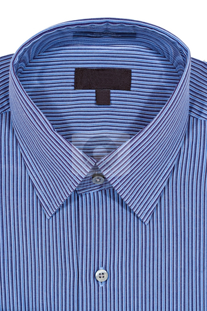 Blue Pinstriped Dress Shirt stock photo, A Blue pinstriped dress shirt isolated over a white background by Stephen Bonk