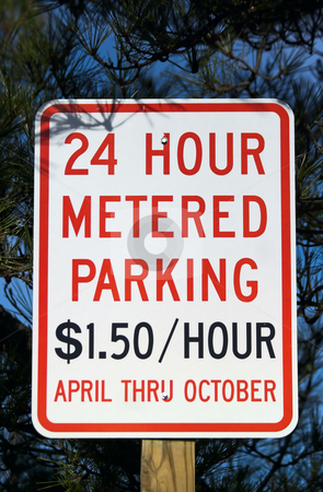 Metered Parking Sign stock photo, 24 hour metered parking sign by Stephen Bonk