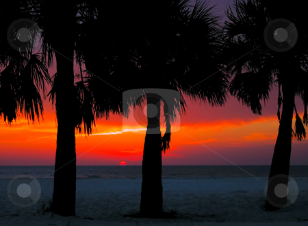 Clearwater Sunset stock photo, Sunset at Clearwater Beach, Florida by Stephen Bonk