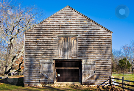 Old Barn stock photo, An old barn in Allaire Village, New Jersey. Allaire village was a bog iron industry town in New Jersey during the early 19th century. by Stephen Bonk