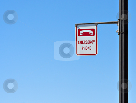 Emergency Phone Sign stock photo, Emergency phone sign with a blue sky background by Stephen Bonk