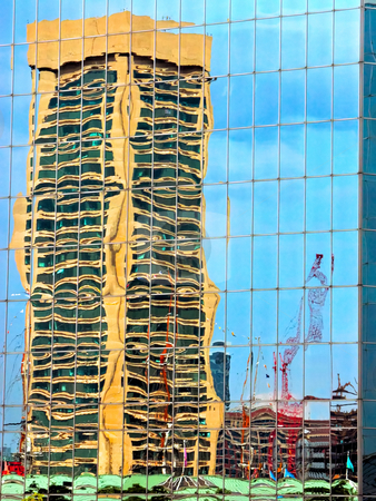 Reflections of Baltimore stock photo, Reflection of a highrise building at Baltimore Inner Harbor, Maryland by Stephen Bonk