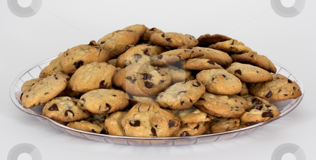 Tray of Chocolate Chip Cookies stock photo, An isolated tray of chocolate chip cookies on a white background by Stephen Bonk