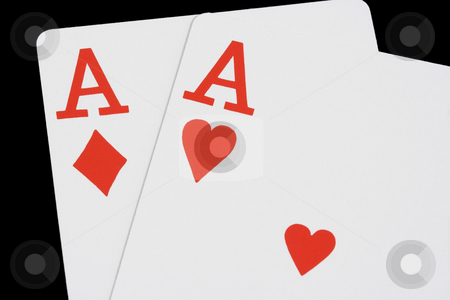 Two Red Aces on Black stock photo, Ace of hearts and Ace of diamonds on black background by Stephen Bonk