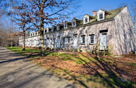 Row Houses stock photo, Old, restored row houses in Allaire Village, New Jersey. Allaire village was a bog iron industry town in New Jersey during the early 19th century. by Stephen Bonk