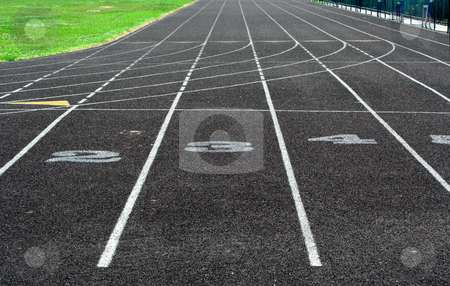 Track stock photo, A portion of a track showing lane numbers 2, 3, and 4 by Stephen Bonk