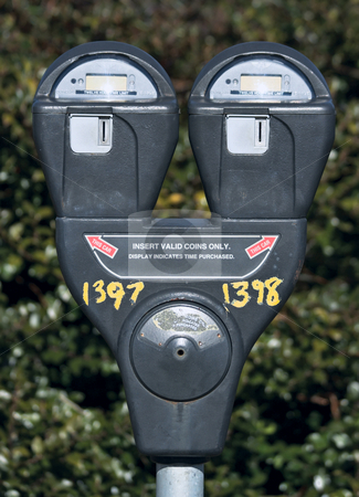 Parking Meter stock photo, Parking meter with bush in the background by Stephen Bonk