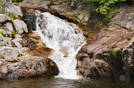 Waterfall stock photo, A waterfall over rock in Vermont by Stephen Bonk