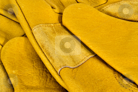 Leather Work Gloves stock photo, Closeup of yellow leather work gloves by Stephen Bonk