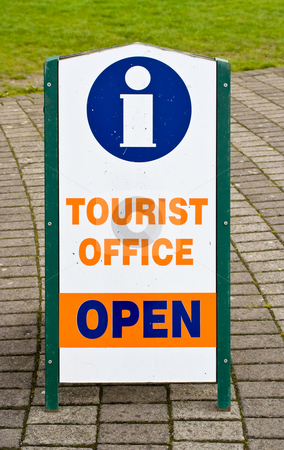 Tourist Office Information Sign stock photo, A sign indicating that a tourist office is open. The symbol for information is also shown on the sign. by Stephen Bonk