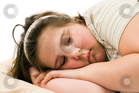 Dreaming Child stock photo, Closeup view of a young child sleeping and having pleasant dreams by Richard Nelson