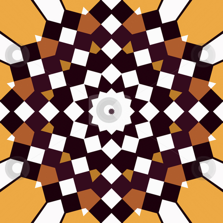 Squares mandala stock photo, Abstract pattern of many brown squares in a mandala by Wino Evertz