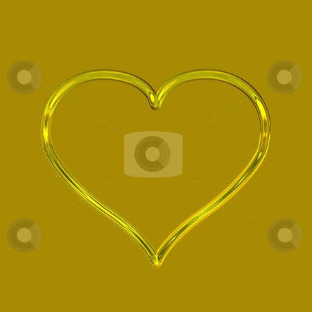 Golden heart stock photo, One glossy golden heart on a golden background by Wino Evertz