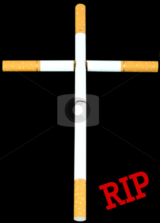 Rest in peace stock photo, Cigarettes set up as cross by R Deron