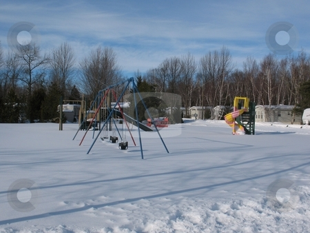 A Playground in Winter stock photo, A playground in the winter by Ray Carpenter