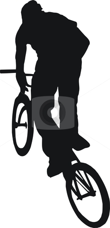 Bicyclist stock vector clipart, Silhouette of the bicyclist executing a stunt by Tudor Antonel adrian