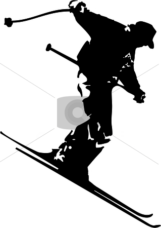 Skiing man stock vector clipart, A skiing man black silhouette racing and jumping by Tudor Antonel adrian